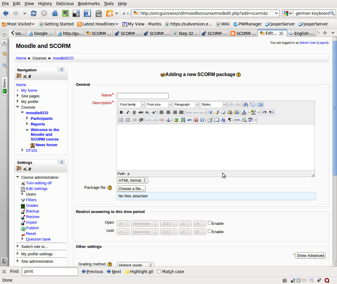 Adding a SCORM Package to Moodle